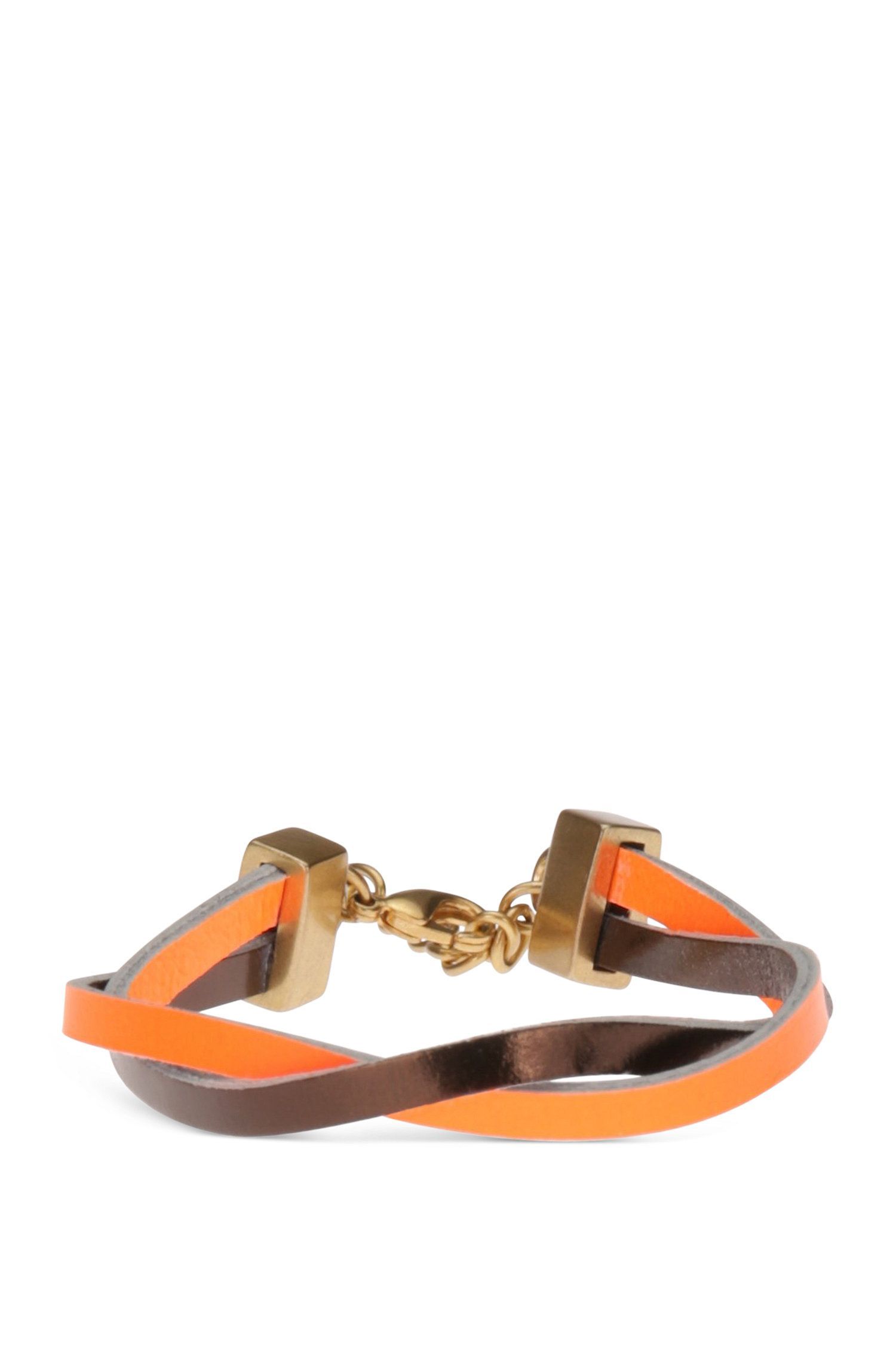 Bracelet with leather straps and zinc fastening: 'Morissa4'
