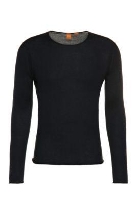 Gebreide trui van katoen: 'Kwameros', Donkerblauw