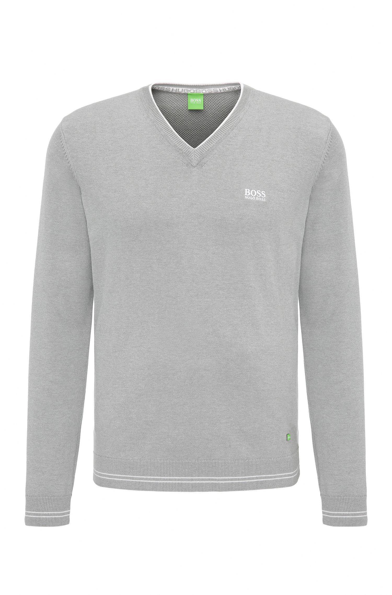Jersey de punto en mezcla de algodón con escote en pico: 'Vime_S17'