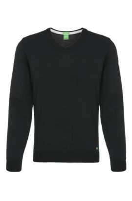 Knitted sweater in water-repellent new wool: 'Veeh_03', Black