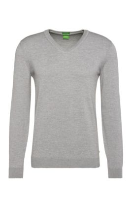 Knitted sweater in water-repellent new wool: 'Veeh_03', Light Grey