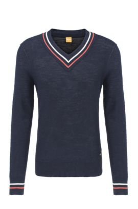 Knitted V-neck sweater in linen blend with cotton: 'Atronik', Dark Blue