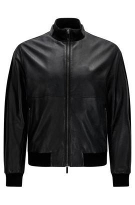 Regular-fit leather jacket in texture mix: 'Mesko', Black
