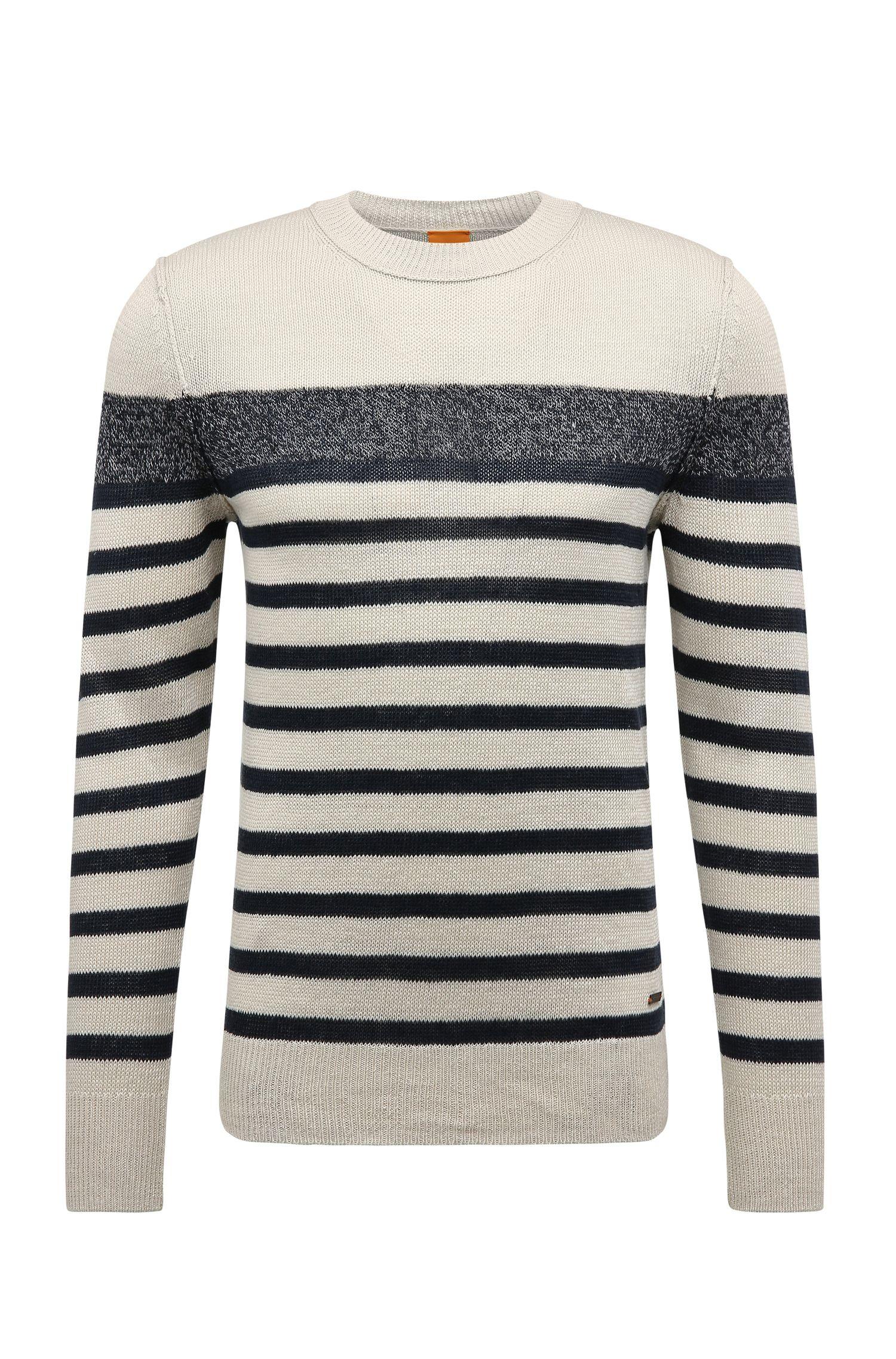 Pullover in maglia slim fit a righe in lino: 'Krew'