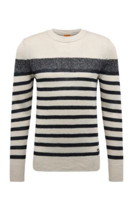 Striped slim-fit knitted sweater in linen: 'Krew', Dark Blue
