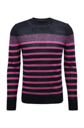 Striped slim-fit knitted sweater in linen: 'Krew', Pink