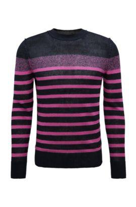 Gestreifter Slim-Fit Strickpullover aus Leinen: ´Krew`, Pink