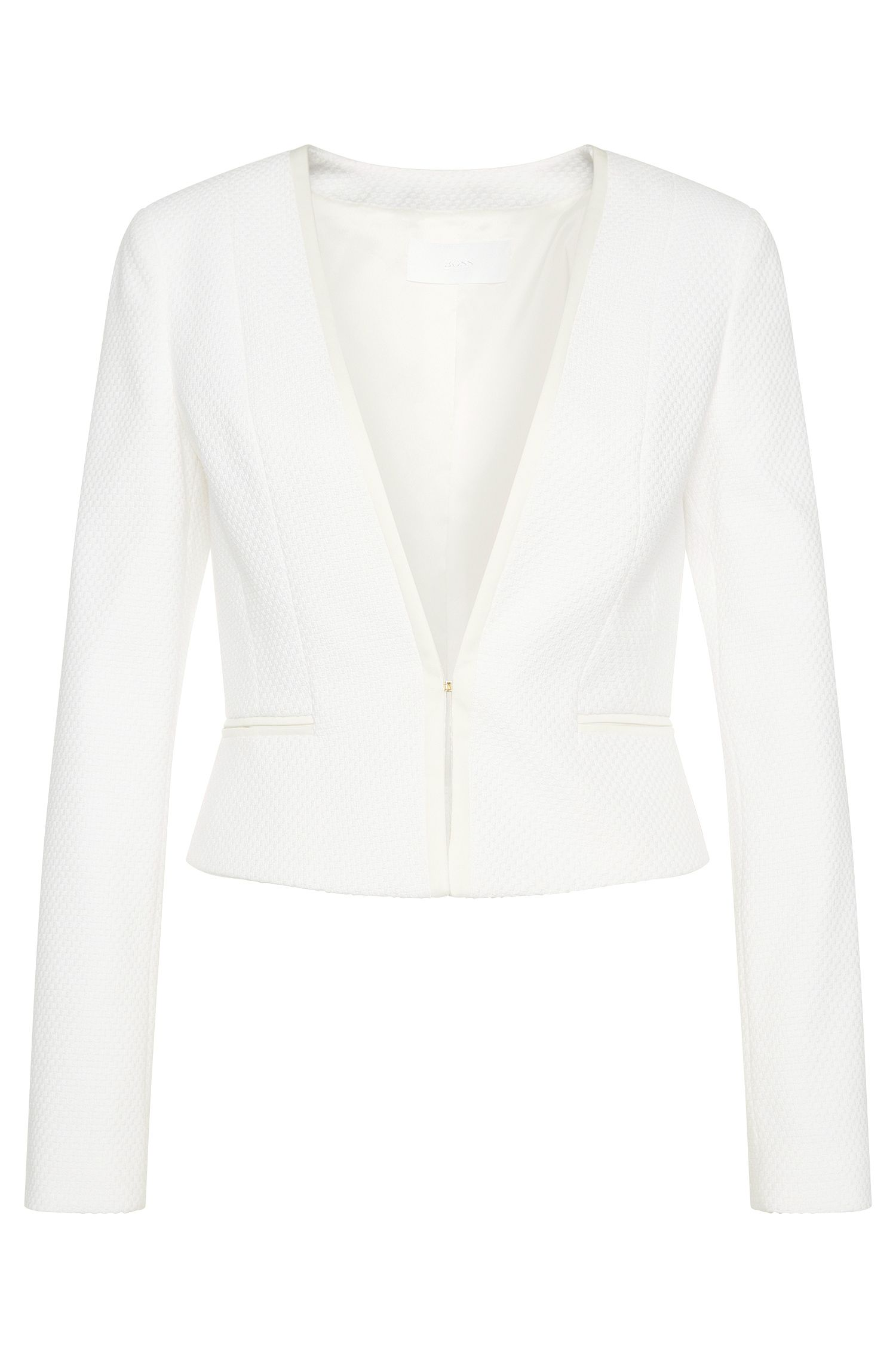 Textured short blazer in stretchy new wool blend with viscose: 'Jivyla'
