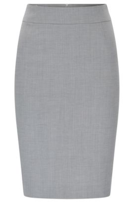 Pencil skirt in textured stretch new wool: 'Vimesa', Silver