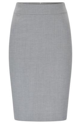 Kokerrok van gestructureerde scheerwol met stretch: 'Vimesa', Zilver