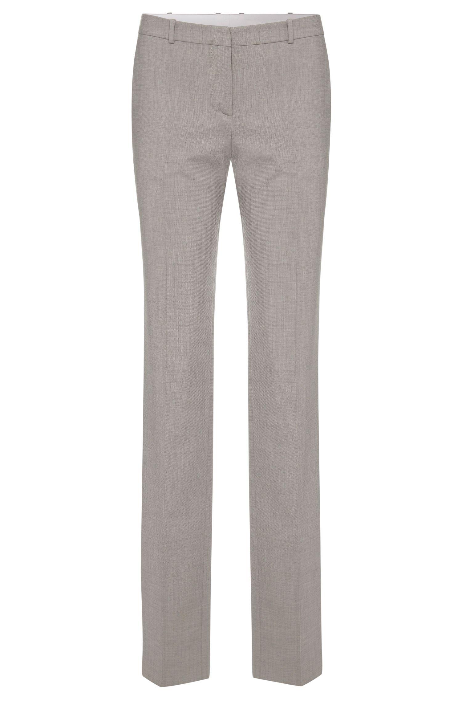 Pantalón regular fit en lana virgen elástica con textura fina: 'Tamea1'