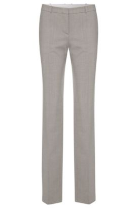 Finely textured regular-fit trousers in stretch new wool: 'Tamea1', Silver