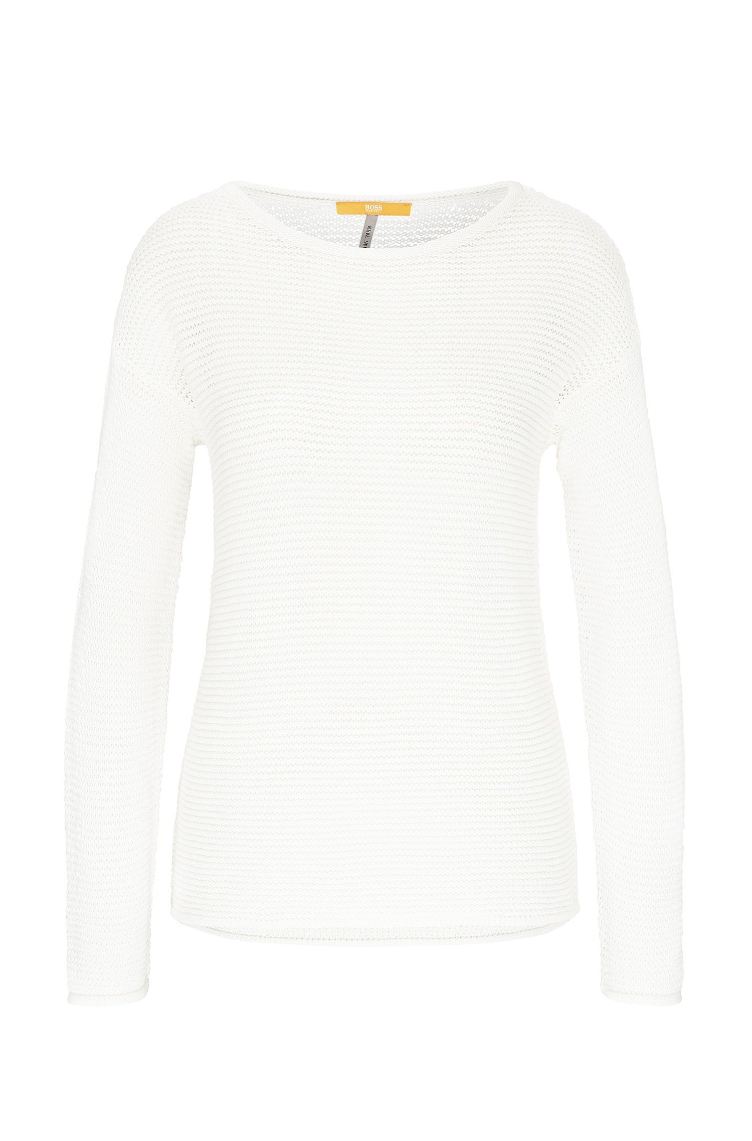 Pullover in maglia relaxed fit in cotone dall'effetto a maglie larghe: 'Idya'