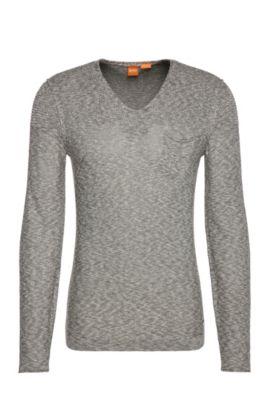 Gebreide trui van een katoenmix met viscose: 'Abramut', Donkergroen