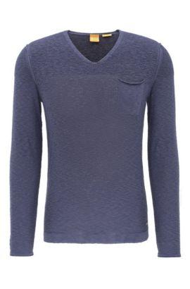 Gebreide trui van een katoenmix met viscose: 'Abramut', Donkerblauw