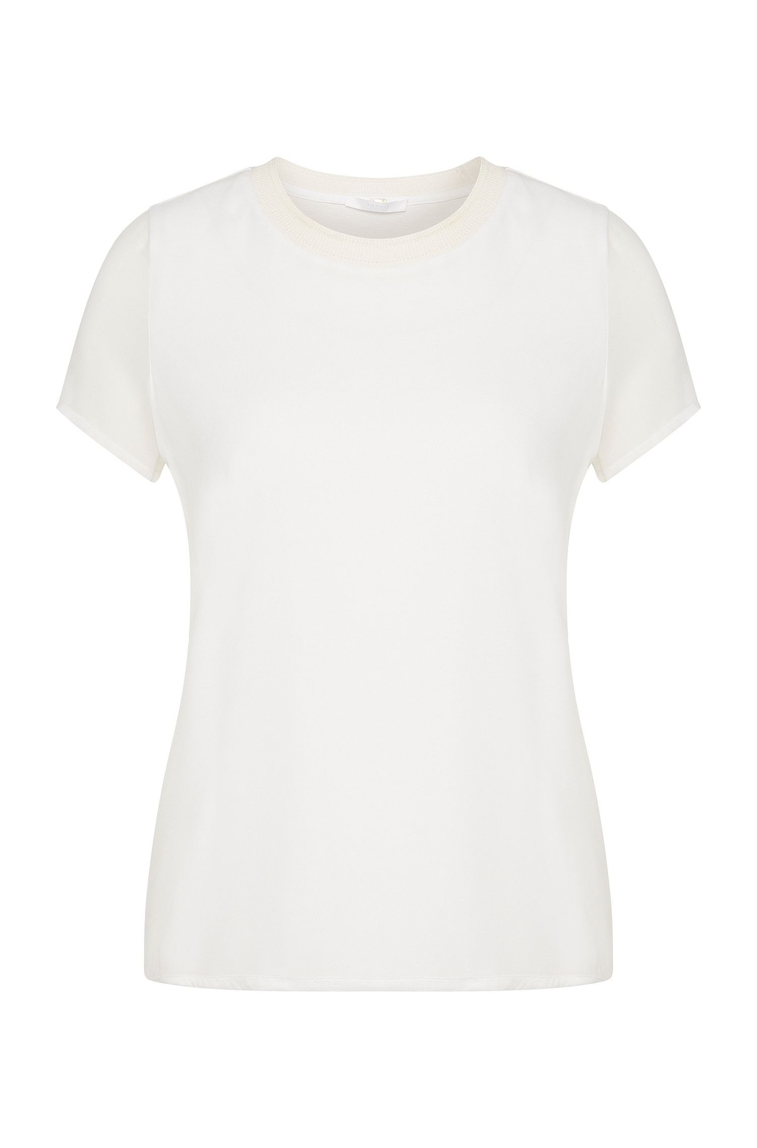Plain t-shirt in viscose with silk trim: 'Etava'