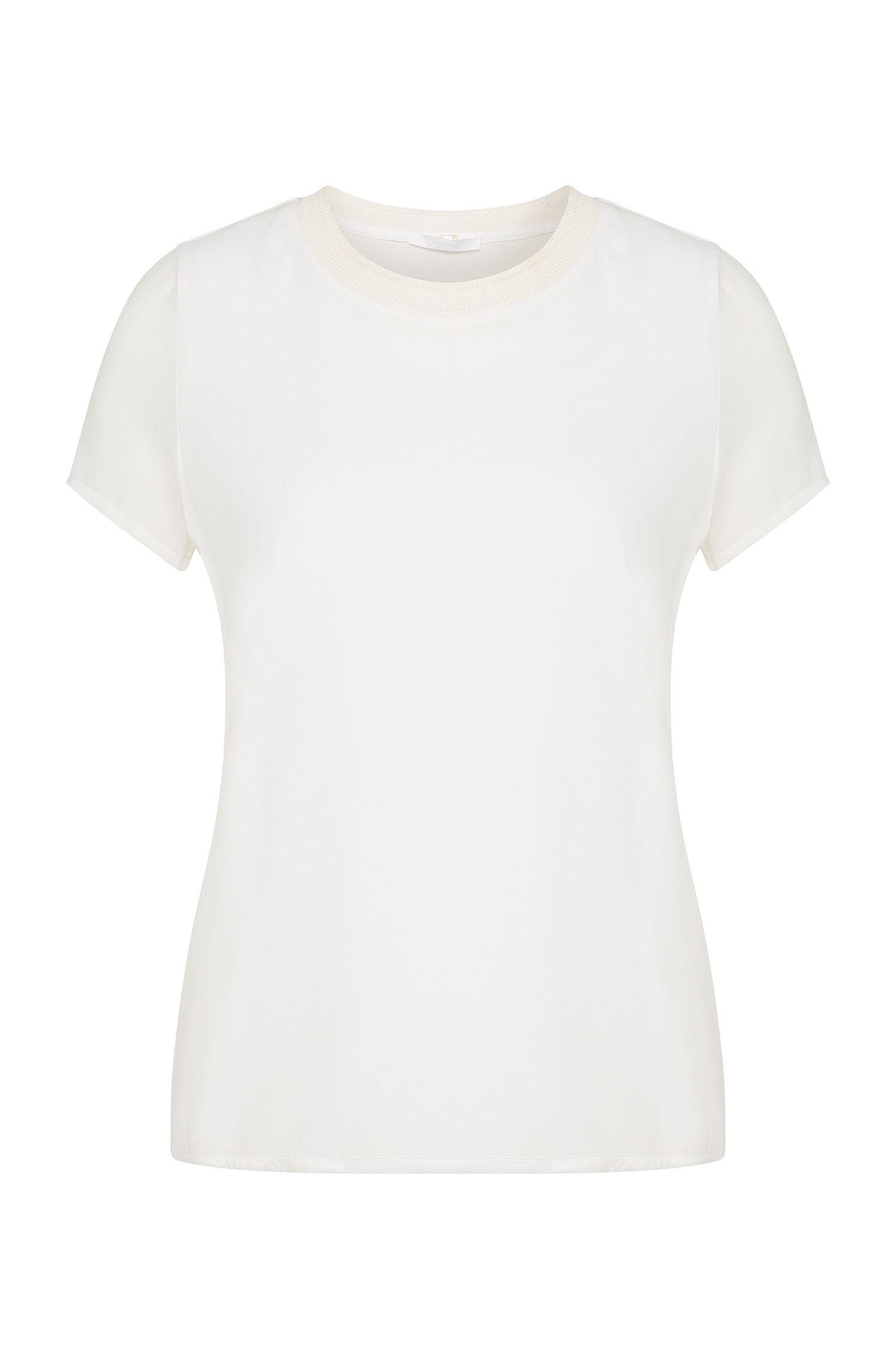 Camiseta lisa en viscosa con ribete de seda: 'Etava'