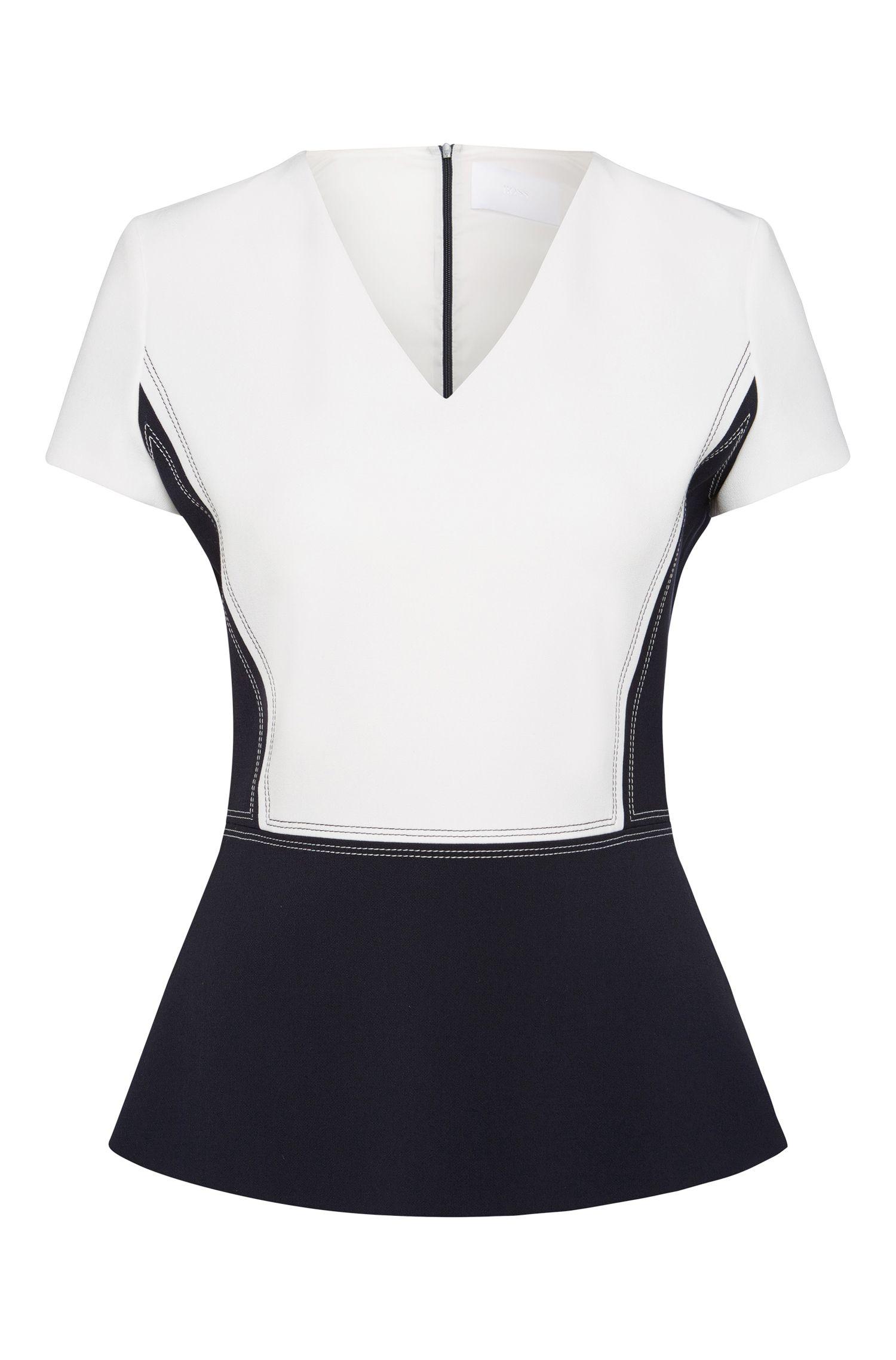 Short-sleeved top in 2-tone design: 'Imida'