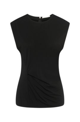 Top in stretch viscose with gathering: 'Enovy', Black