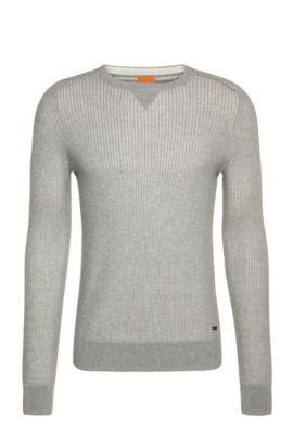 Gebreide trui van katoen: 'Kawanan', Lichtgrijs