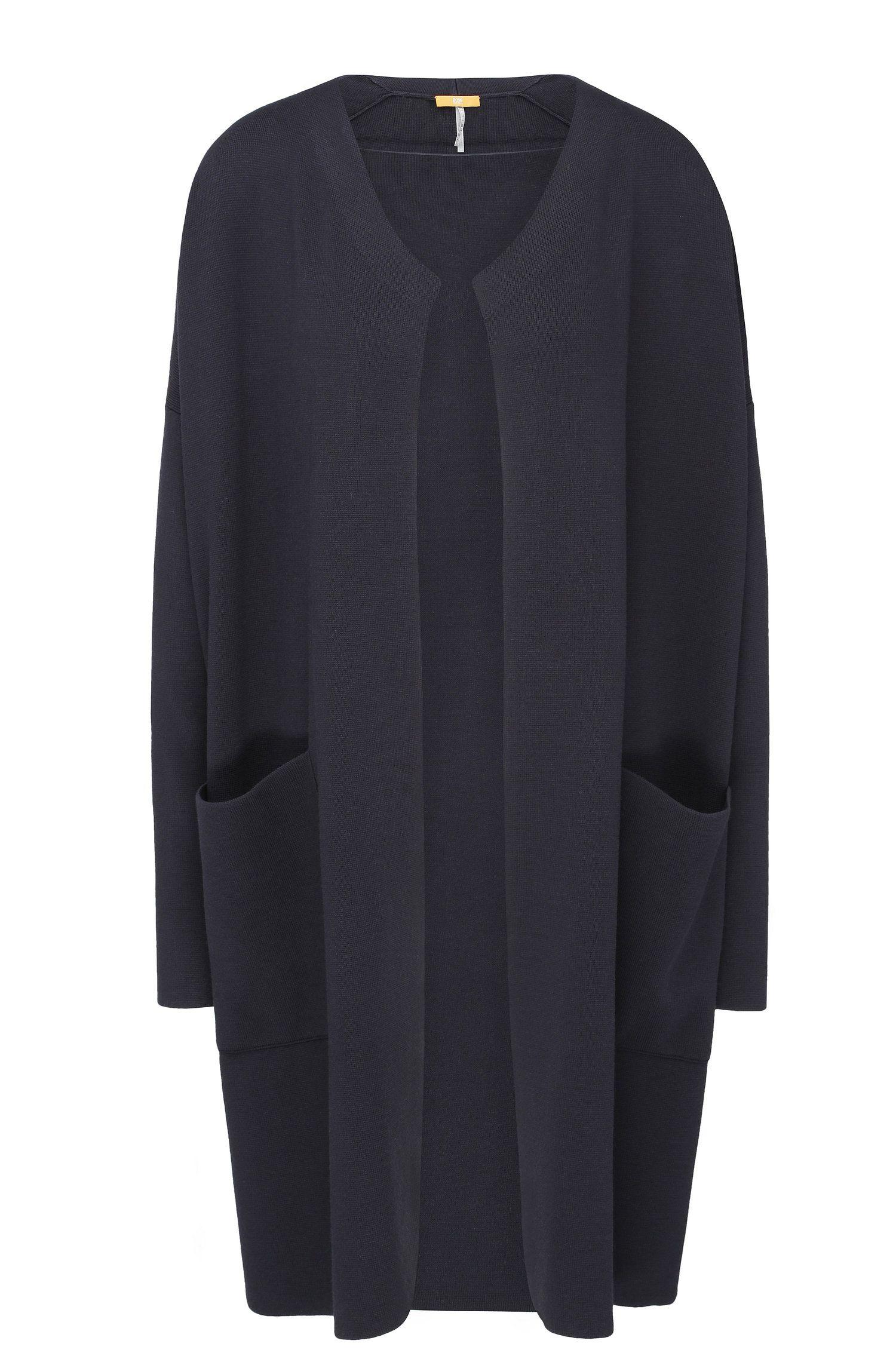Lang gebreid, relaxed-fit vest van een materiaalmix met opgezette zakken: 'Iranya'