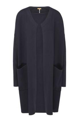 Lang gebreid, relaxed-fit vest van een materiaalmix met opgezette zakken: 'Iranya', Donkerblauw