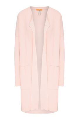Long relaxed-fit cardigan in material blend with patch pockets: 'Iranya', light pink