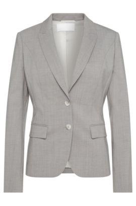 Blazer con textura fina en lana virgen elástica: 'Jimelana', Plata
