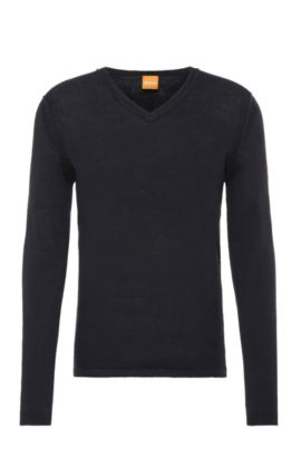 Linen knit sweater: 'Klasht', Dark Blue