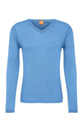 Linen knit sweater: 'Klasht', Open Blue