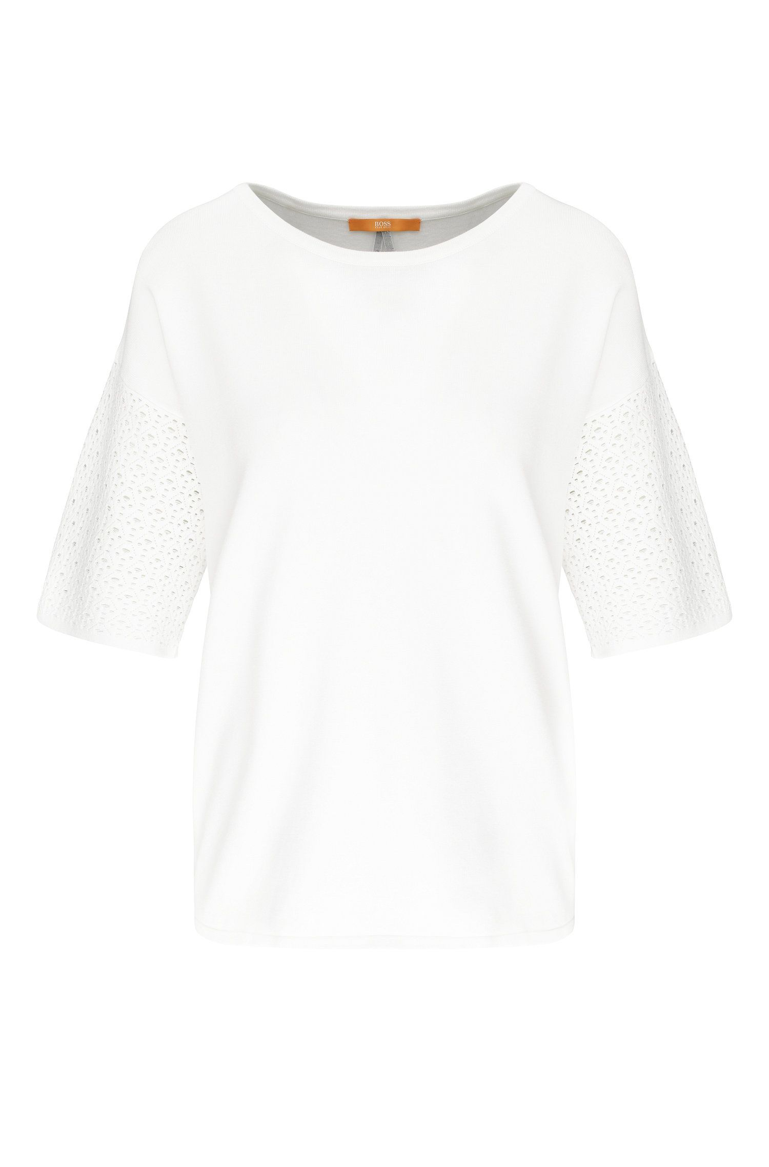 Relaxed-fit t-shirt in material blend with perforated stitches: 'Wittoria'