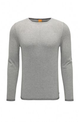 Striped sweater in cotton blend with viscose and silk: 'Aleynsir', Light Grey