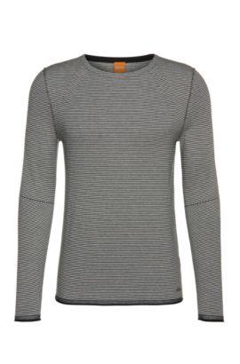 Gestreifter Pullover aus Baumwoll-Mix mit Viskose und Seide: ´Aleynsir`, Dunkelblau