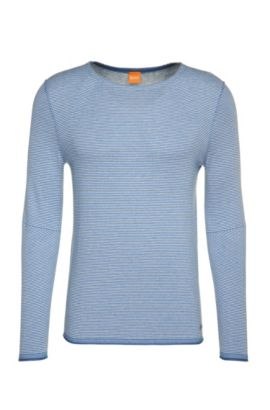 Striped sweater in cotton blend with viscose and silk: 'Aleynsir', Open Blue