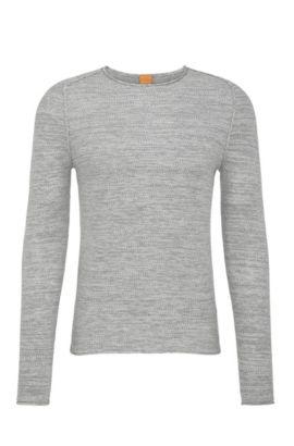Effektvoller Strick-Pullover aus Baumwoll-Mix mit Viskose und Seide: ´Akmerso`, Hellgrau