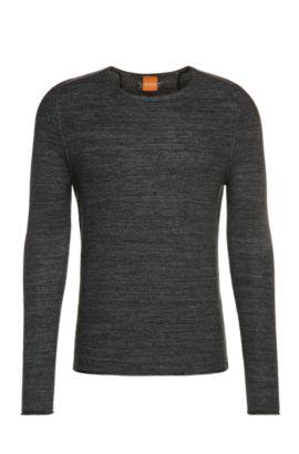 Effektvoller Strick-Pullover aus Baumwoll-Mix mit Viskose und Seide: ´Akmerso`, Dunkelblau