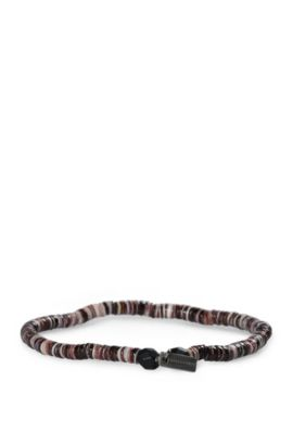 Elasticated seashell bracelet with glass beads: 'Mishell', Brown