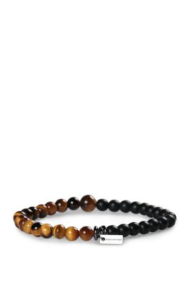 Elasticated bead bracelet with tiger's eye and turquoise: 'Mistone', Gold