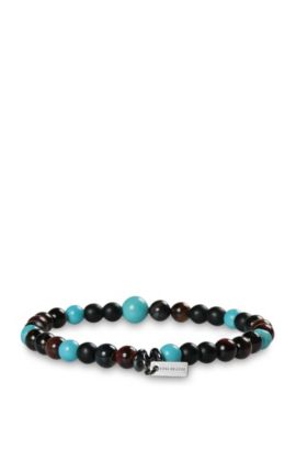 Elasticated bead bracelet with tiger's eye and turquoise: 'Mistone', Patterned