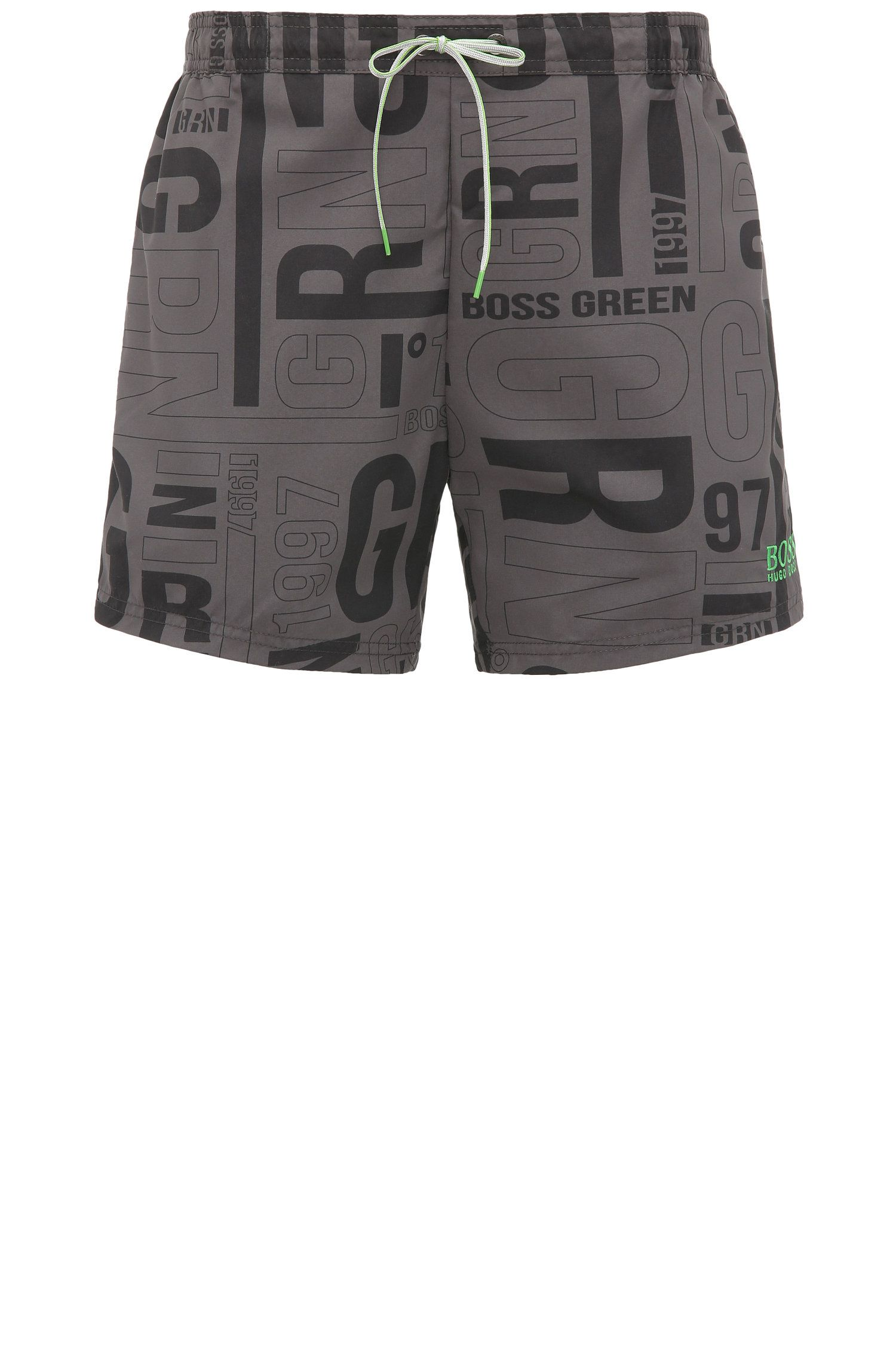 Swim shorts in material blend with print: 'Jamaica'