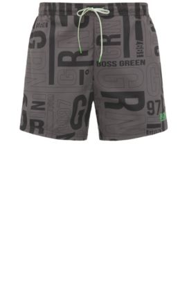 Swim shorts in material blend with print: 'Jamaica', Black