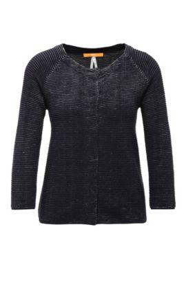 Regular-fit vest van een katoenmix met viscose, linnen en zijde: 'Isaial', Donkerblauw