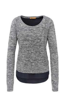 Relaxed-fit knitted sweater made from a linen blend with cotton in a layered look: 'Warradyn', Dark Blue