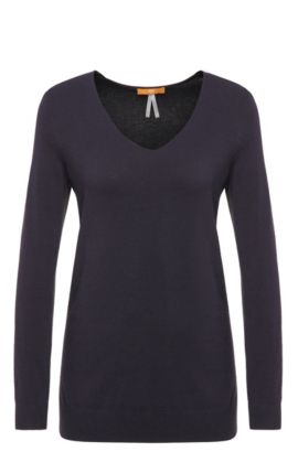 Pullover in maglia relaxed fit in misto viscosa: 'Wasmyn', Blu scuro
