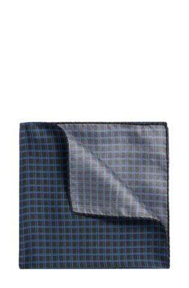 Checked silk pocket square: 'Pocketsquare 33x33cm', Green