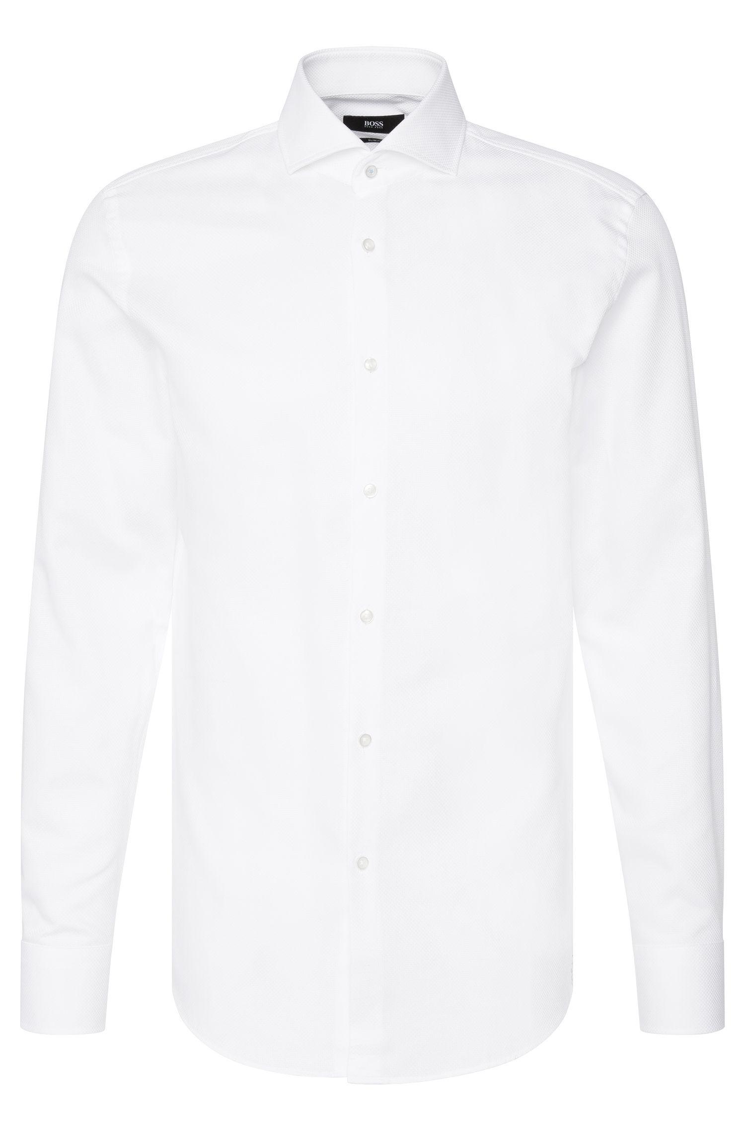 Slim-fit overhemd van gestructureerde katoen: 'Jerrin'