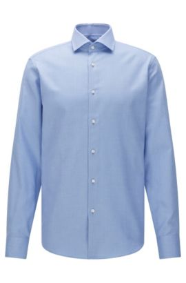Camisa regular fit con estampado elegante en algodón: 'Gordon', Azul