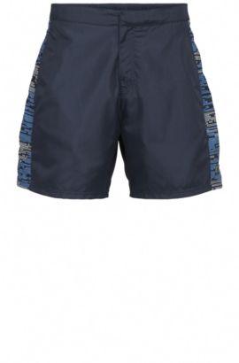 Bañador short regular fit en mezcla de materiales con apliques de estampado: 'Aruba', Azul oscuro