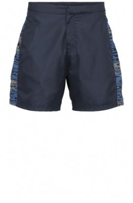 Regular-fit swim shorts in material blend with patterned sections: 'Aruba', Dark Blue