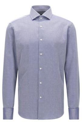 Preciosa camisa regular fit estampada en algodón con puño doble: 'Gardner', Azul oscuro